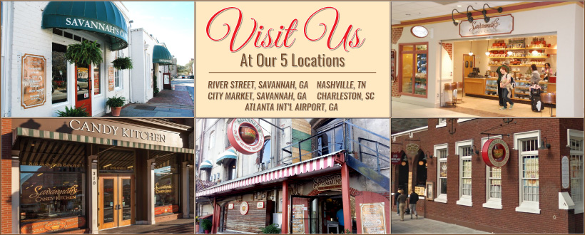 Visit Savannah Candy's shops!