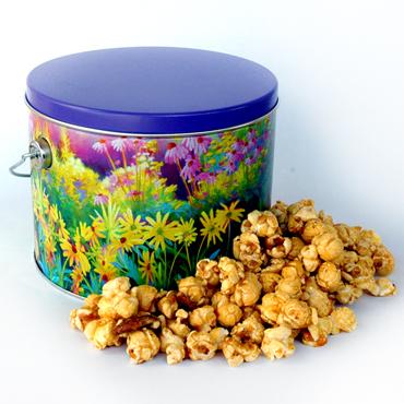 Caramel Corn Flower Tin